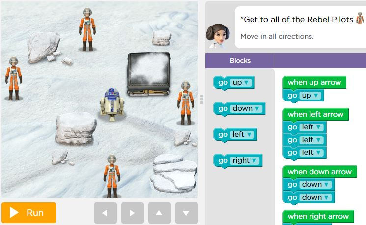 Planning for Star Wars class for 'Hour of Code' next week